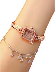 cheap -Women's Wrist Watch Diamond Watch Square Watch Quartz Silver / Gold / Rose Gold Chronograph Luminous Lovely Analog Ladies Fashion Elegant - Gold Silver Rose Gold / Imitation Diamond