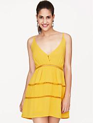 cheap -Women's Sheath Dress - Sleeveless Strap Going out Yellow S M L XL / Sexy
