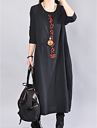 cheap -Women's Daily Basic Loose Tunic Dress - Solid Colored Black Spring Black Red M L XL XXL