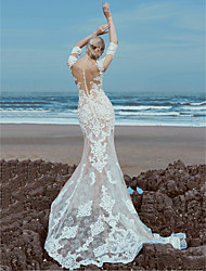 cheap -Mermaid / Trumpet Wedding Dresses Scoop Neck Sweep / Brush Train Lace Tulle Half Sleeve Beautiful Back with Lace Beading 2020