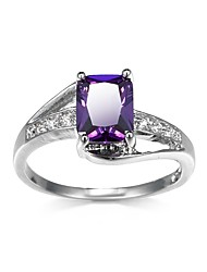 cheap -Couple's Ring Synthetic Amethyst Cubic Zirconia Amethyst 1pc Purple Green Copper Rhinestone Round irregular Ladies Stylish Classic Date Work Jewelry Stylish Solitaire Simulated Creative Vertical