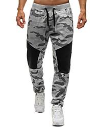 cheap -Men's Basic Daily Loose Sweatpants Pants - Color Block / Camo / Camouflage Cotton Black Gray L XL XXL