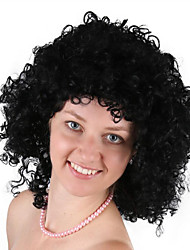 cheap -Synthetic Wig Cosplay Wig Curly Bob Wig Medium Length Natural Black Synthetic Hair 12 inch Men's Cosplay Party curling Black