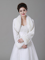 cheap -Long Sleeve Faux Fur Wedding / Birthday Women's Wrap With Solid Shrugs