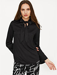 cheap -Women's Going out Blouse - Solid Colored Dusty Rose V Neck Black / Spring / Lace up / Flare Sleeve
