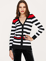 cheap -Women's Sports Active Tassel Striped / Solid Colored Short Sleeve Plus Size Puff Sleeve Regular Cardigan Sweater Jumper, Round Neck Cotton Black / Royal Blue One-Size