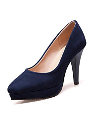 cheap -Women's Heels Chunky Heel Closed Toe PU(Polyurethane) Comfort Spring Black / Dark Blue / Wine / Daily