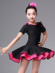 cheap -Latin Dance Dresses Girls' Performance Spandex Ruching Short Sleeve High Dress