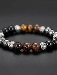 cheap -Men's Black Gemstone Tiger's eye Stone Bead Bracelet Bracelet Beaded Stylish Creative Natural Casual / Sporty Fashion Stone Bracelet Jewelry Black For Birthday Daily