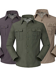 cheap -Men's Hiking Shirt / Button Down Shirts Long Sleeve Outdoor UV Resistant Breathable Quick Dry UV Protection Convert to Short Sleeves Shirt Top Autumn / Fall Spring Linen Army Green Dark Gray Khaki