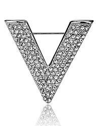 cheap -Women's Cubic Zirconia Brooches Classic Stylish Creative Letter Unique Design Aristocrat Lolita Fashion Brooch Jewelry Gold Silver For Party Daily