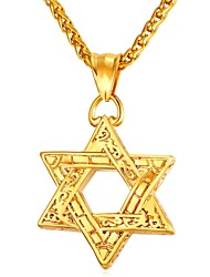 cheap -Men's Pendant Necklace Vintage Style Classic Star Star of David Pentagram Vintage scottish Stainless Steel Rose Gold Black Gold Silver 55 cm Necklace Jewelry 1pc For Gift Daily