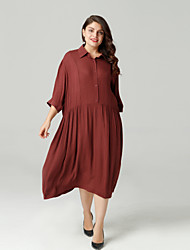 cheap -Women's Daily / Weekend Loose A Line Dress Shirt Collar Summer Wine XL XXL XXXL