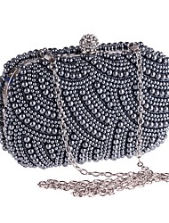 cheap -Women's Crystals / Pearls Polyester / Alloy Evening Bag Floral Print Black / Champagne / Beige / Fall & Winter