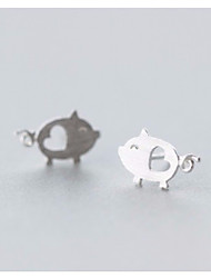 cheap -Women's Stud Earrings Classic Stylish Pig Heart Ladies Stylish Sweet Cute S925 Sterling Silver Earrings Jewelry Silver For Daily Going out 1 Pair