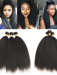 cheap -3 Bundles Indian Hair kinky Straight Human Hair Human Hair Extensions 8-28 inch Human Hair Weaves Soft Best Quality New Arrival Human Hair Extensions / 8A