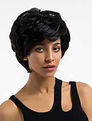 cheap -Human Hair Wig Wavy Pixie Cut Short Hairstyles 2019 Dark Black Natural Hairline Capless Women's Black#1B Medium Auburn 10 inch Daily