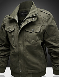 cheap -Men's Daily / Sports Regular Jacket, Solid Colored Stand Long Sleeve Cotton / Polyester Black / Army Green / Khaki