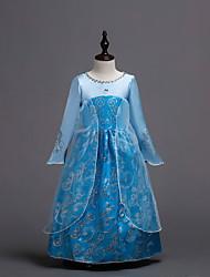 abordables -Enfants Fille Actif Doux Vacances Sortie Géométrique Halloween Maille Imprimé Manches Longues Midi Robe Bleu / Coton