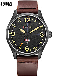 cheap -CURREN Men's Dress Watch Bracelet Watch Quartz Genuine Leather Black / Brown Water Resistant / Waterproof Calendar / date / day New Design Analog Classic Casual Fashion - Black / Yellow Black / White