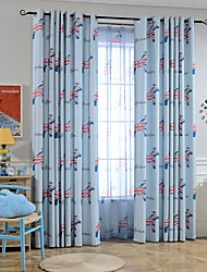 cheap -Two Panel Children's Room Cartoon Style Wooden Horse Printing Curtains