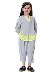 cheap -Kids Girls' Active Basic Street chic Daily Sports Beach Patchwork 3/4 Length Sleeve Regular Clothing Set Navy Blue