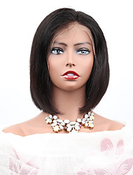cheap -Remy Human Hair Full Lace Wig Bob Kardashian style Brazilian Hair Straight Black Wig 130% Density with Baby Hair Women Easy dressing Natural Hot Sale Women's Medium Length Human Hair Lace Wig PERFE