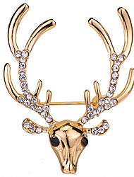 cheap -Women's Cubic Zirconia Brooches Classic Stylish Deer Creative Unique Design Elegant Fashion Brooch Jewelry Gold Silver For Daily Holiday