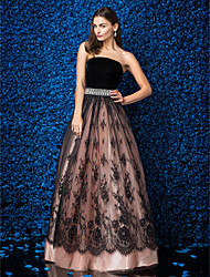 cheap -A-Line Sparkle & Shine Open Back Prom Formal Evening Dress Strapless Sleeveless Floor Length Lace Velvet with Pleats Beading 2020