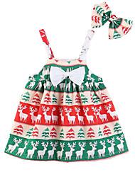 cheap -Kids Girls' Active Sweet Party Holiday Deer Plants Animal Cartoon Bow Print Sleeveless Above Knee Dress Green
