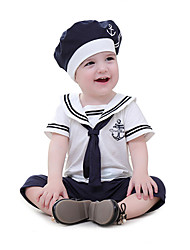 cheap -2pcs Baby Boys' Active / Basic Daily / Beach Patchwork Short Sleeves Cotton Romper White