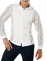 cheap -Men's Going out Club Vintage / Street chic Shirt - Solid Colored Lace / Cut Out Classic Collar White / Long Sleeve