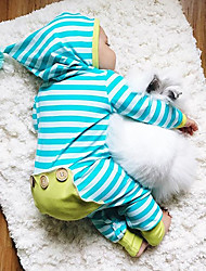 cheap -Baby Boys' Active / Basic Daily Striped Stripe Long Sleeve Cotton Romper Blue