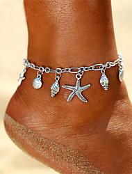 cheap -Anklet Ankle Bracelet Ladies Dangling Bohemian Women's Body Jewelry For Holiday Going out Retro Yoga Alloy Starfish Shell Silver 1pc