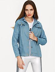cheap -Women's Going out Spring Short Denim Jacket, Solid Colored Shirt Collar Long Sleeve Polyester Navy Blue / Light Blue M / L / XL