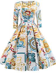 Недорогие -Жен. На выход Винтаж Элегантный стиль Хлопок Тонкие С летящей юбкой Платье - Цветочный принт, С принтом До колена
