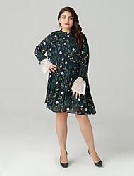 cheap -Women's Navy Blue Dress Going out Tunic XL XXL Slim
