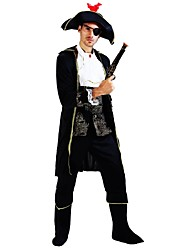 cheap -Pirates of the Caribbean Costume Men's Adults Highschool Halloween Halloween Carnival Masquerade Festival / Holiday Polyster Outfits Black Solid Colored Halloween