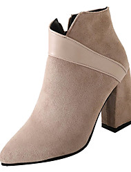 cheap -Women's Boots Chunky Heel Pointed Toe PU Booties / Ankle Boots Fashion Boots Fall Black / Beige