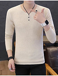 cheap -Men's Going out Solid Colored Long Sleeve Slim Regular Pullover Sweater Jumper, Round Neck Black / Wine / White M / L / XL