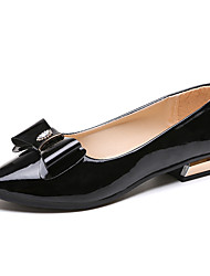 cheap -Women's Flats Low Heel Pointed Toe Bowknot Faux Leather Casual Spring & Summer Black / White / Light Pink / EU36