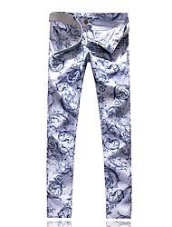 abordables -Homme Chic de Rue Sortie Mince Chino Pantalon - Géométrique Bleu & blanc, Imprimé Printemps Automne Blanche 34 36 38