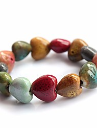 cheap -Women's Stylish Beads Strand Bracelet Wide Bangle - Heart Stylish, Ethnic, Sweet Bracelet Rainbow For Gift Going out