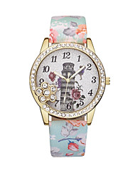 cheap -Women's Wrist Watch Diamond Watch Quartz Leather Black / Blue / Red Casual Watch Analog Ladies Flower Fashion - Blue Pink Light Green