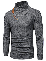 cheap -Men's Daily Basic Cotton Slim T-shirt - Solid Colored Navy Blue / Long Sleeve