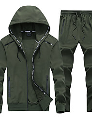 cheap -Men's 2-Piece Front Zipper Cotton Tracksuit 2pcs Winter Running Fitness Gym Workout Sportswear Plus Size Thermal / Warm Breathable Sweat-wicking Hoodie Pants / Trousers Clothing Suit Long Sleeve