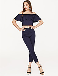 cheap -Women's Daily Slim Crop Top Set - Solid Colored Other, Ruffle Off Shoulder Pant / Summer / Sexy