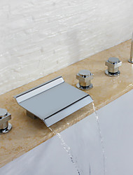 cheap -Bathtub Faucet - Contemporary Chrome Widespread Ceramic Valve Bath Shower Mixer Taps / Brass / Three Handles Five Holes