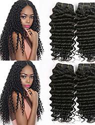 cheap -4 Bundles Peruvian Hair Deep Wave Human Hair Wig Accessories Natural Color Hair Weaves / Hair Bulk Extension 8-28 inch Natural Color Human Hair Weaves Smooth Natural Best Quality Human Hair Extensions