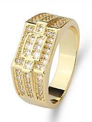 cheap -Ring Classic Gold Brass Imitation Diamond 24K Gold Plated Precious Luxury Classic Fashion 1pc 7 8 9 10 11 / Men's